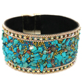 BRACELET NATURAL STONE CUFFS GOLD TURQUOISE